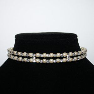 Modern pearl and rhinestone coil choker necklace
